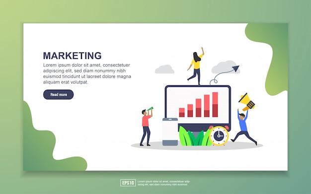 マーケティングのランディングページテンプレート。 webサイトおよびモバイルwebサイトのwebページデザインのモダンなフラットデザインコンセプト
