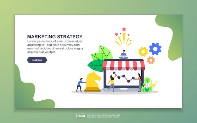 マーケティング戦略のランディングページテンプレート。 webサイトおよびモバイルwebサイトのwebページデザインのモダンなフラットデザインコンセプト
