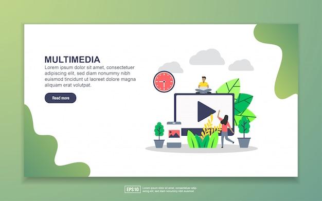 マルチメディアのランディングページテンプレート。 webサイトおよびモバイルwebサイトのwebページデザインのモダンなフラットデザインコンセプト