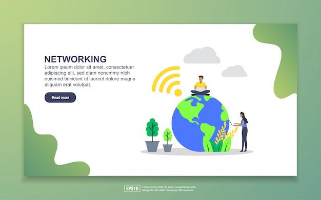 ネットワークのランディングページテンプレート。 webサイトおよびモバイルwebサイトのwebページデザインのモダンなフラットデザインコンセプト