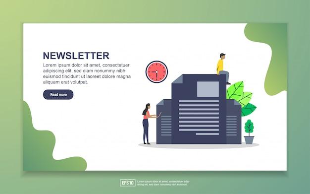 ニュースレターのランディングページテンプレート。 webサイトおよびモバイルwebサイトのwebページデザインのモダンなフラットデザインコンセプト