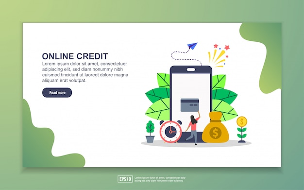 オンラインクレジットのランディングページテンプレート。 webサイトおよびモバイルwebサイトのwebページデザインのモダンなフラットデザインコンセプト