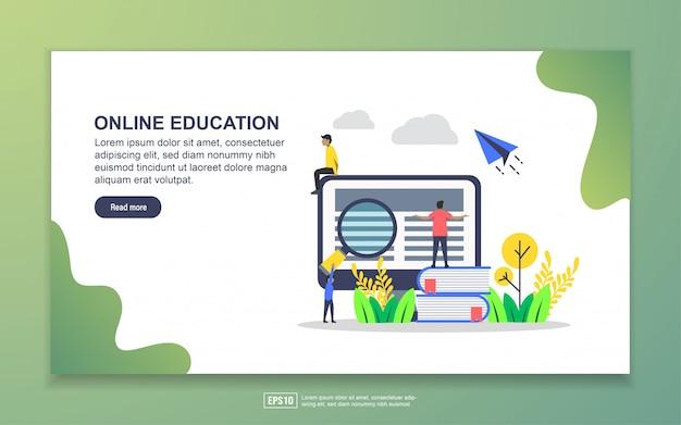 オンライン教育のランディングページテンプレート。 webサイトおよびモバイルwebサイトのwebページデザインのモダンなフラットデザインコンセプト