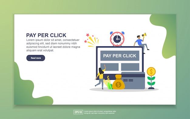 クリックごとの支払いのランディングページテンプレート。 webサイトおよびモバイルwebサイトのwebページデザインのモダンなフラットデザインコンセプト