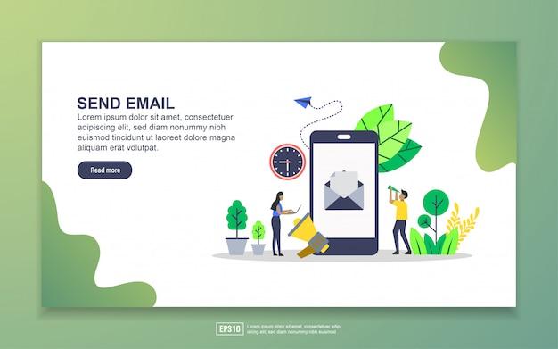 メール送信のランディングページテンプレート。 webサイトおよびモバイルwebサイトのwebページデザインのモダンなフラットデザインコンセプト