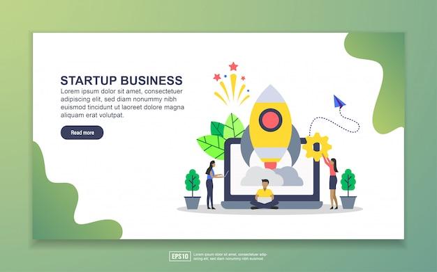 スタートアップビジネスのランディングページテンプレート。 webサイトおよびモバイルwebサイトのwebページデザインのモダンなフラットデザインコンセプト
