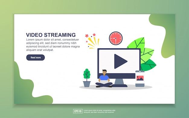 ビデオストリーミングのランディングページテンプレート。 webサイトおよびモバイルwebサイトのwebページデザインのモダンなフラットデザインコンセプト