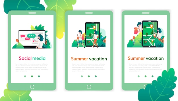ソーシャルメディア、夏休みのwebページデザインテンプレートのセット。 webサイトおよびモバイルwebサイト開発の現代ベクトル図の概念。