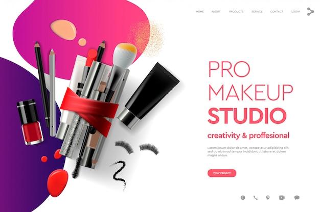 メイクアップスタジオ、コース、天然物、化粧品、ボディケアのwebページデザインテンプレートです。 webサイトおよびモバイルwebサイト開発のモダンなデザインコンセプト。