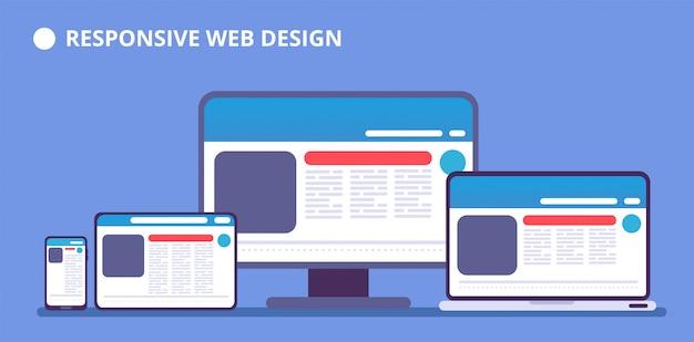 レスポンシブwebサイト。さまざまなデバイスのwebページ。タブレットと携帯電話、ラップトップとコンピューターは、webデザインで表示します。ベクトル図