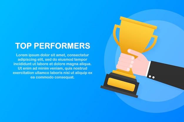 トップパフォーマー。ウェブサイトのテンプレートデザイン。 webサイトおよびモバイルwebサイトの設計と開発の概念