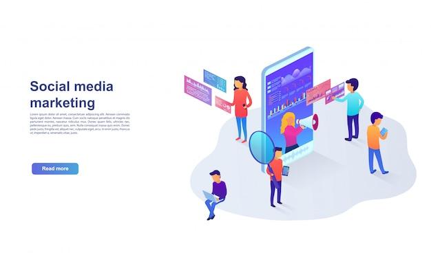 ソーシャルネットワーク、ビジュアルデータ、デジタルマーケティングのランディングページの統計と分析。 webサイトおよびモバイルwebサイトのプロモーションサービスのマーケティングの概念。