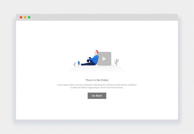 Webサイトおよびモバイルwebサイト用のビデオはありませんというモダンなフラットデザインコンセプト。空の状態ページテンプレート