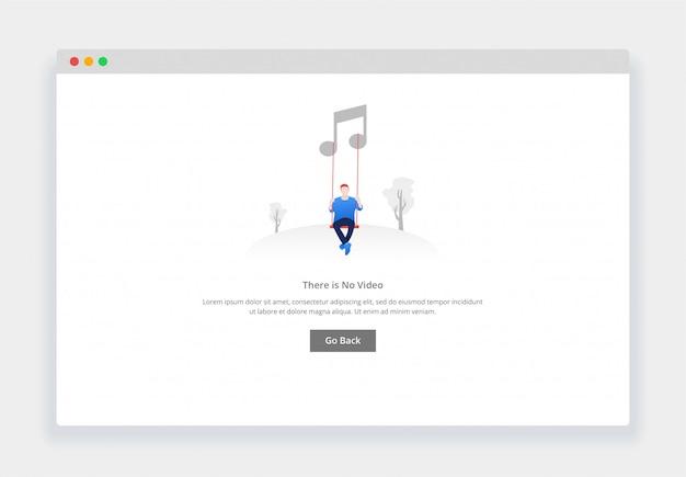 Webサイトやモバイルwebサイト用の音楽はありませんというモダンなフラットデザインコンセプト。空の状態ページテンプレート