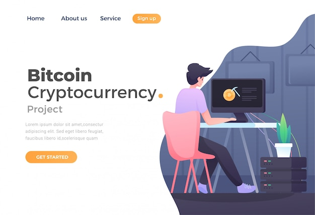 Webサイトおよびモバイルwebサイトのビットコイン暗号通貨のユニークでモダンなフラットデザインのコンセプト