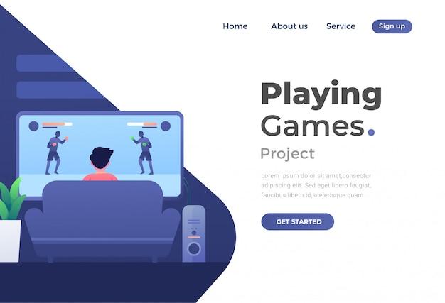 Webサイトとモバイルwebサイトのゲームのユニークでモダンなフラットデザインのコンセプト