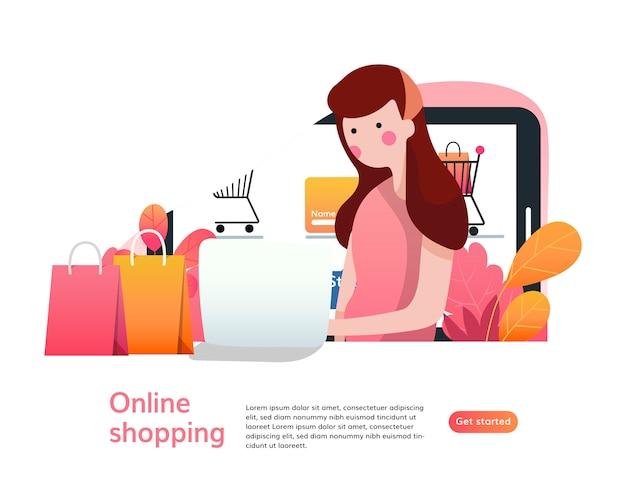 オンラインショッピングのランディングページテンプレート。 webサイトのwebページデザインのモダンなフラットデザインのコンセプト