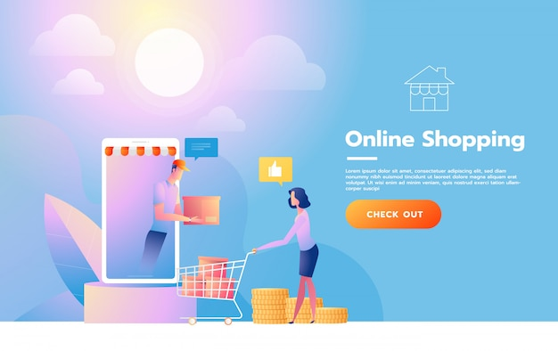 オンラインショッピングのランディングページテンプレート。 webサイトおよび携帯サイトのwebページデザインのモダンなフラットデザインのコンセプト。ベクトルイラスト
