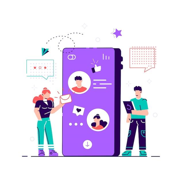 Webページ、コミュニケーション、ソーシャルネットワークのソーシャルネットワークの概念。 webページ、カード、ポスター、ソーシャルメディアのスタイルのモダンなイラスト。電話でチャット。