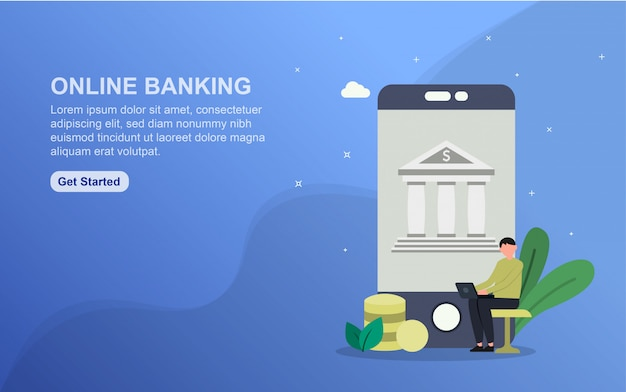 オンラインバンキングのランディングページテンプレート。 webサイトのwebページデザインのフラットなデザインコンセプト。