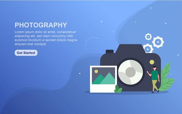 写真のランディングページテンプレート。 webサイトのwebページデザインのフラットなデザインコンセプト。