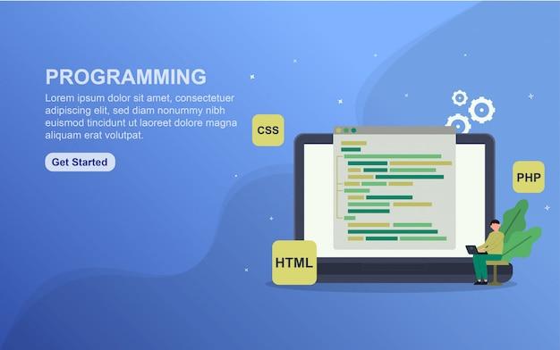 ランディングページテンプレートのプログラミング。 webサイトのwebページデザインのフラットなデザインコンセプト。