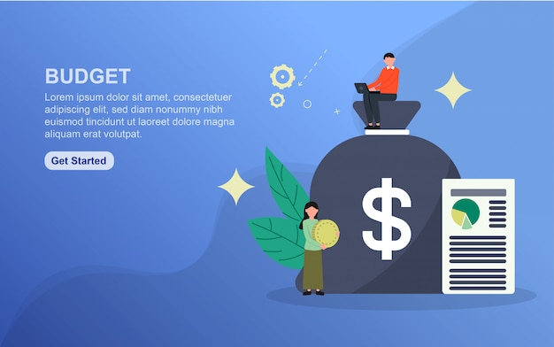 予算のランディングページテンプレート。 webサイトのwebページデザインのフラットなデザインコンセプト
