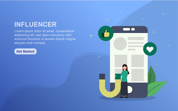 ランディングページテンプレートに影響を与えます。 webサイトのwebページデザインのフラットなデザインコンセプト。