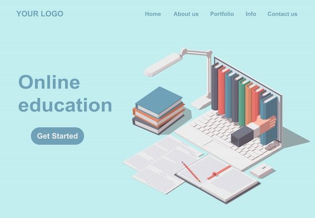 Webサイトまたはモバイルwebサイトのオンライン教育。ランディングページテンプレート。