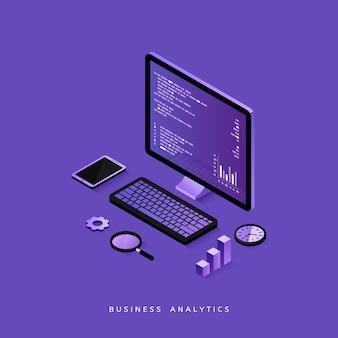Webサイトおよびモバイルwebサイトのビジネス分析のモダンなフラットデザイン等尺性概念