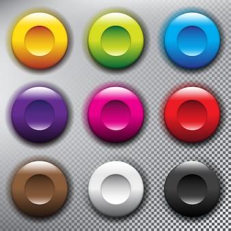 Webボタンコレクション。丸いプラスチック製のwebボタン。光の表面に分離されました。