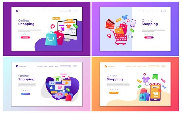 オンラインショッピングやショッピングストアの現代ベクトルイラスト。 webサイトおよび携帯サイトのwebページデザインのモダンなデザインコンセプト。