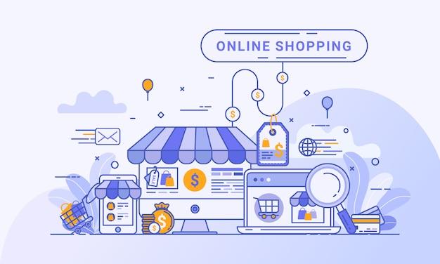 Webランディングページ、webサイトおよびモバイルアプリケーションでのデジタルマーケティングのオンラインショッピングのコンセプト。