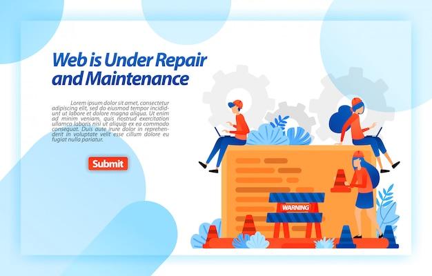 修理中およびメンテナンス中のweb。より良い経験のための修理と改善プログラムの過程のウェブサイト。ランディングページwebテンプレート