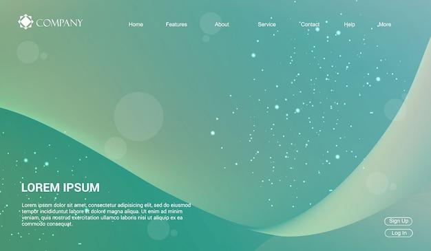 Webサイト、またはアプリ用のwebサイトテンプレート。液体流体波勾配最小現代