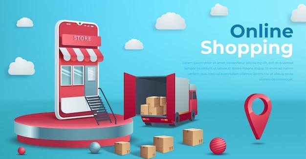 ショッピングのオンラインコンセプト、webページ、webサイト、テンプレートおよび背景のオンライン取引。