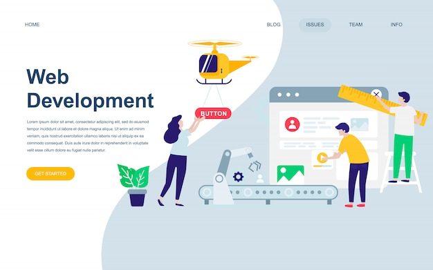 Web開発のモダンなフラットwebページデザインテンプレート