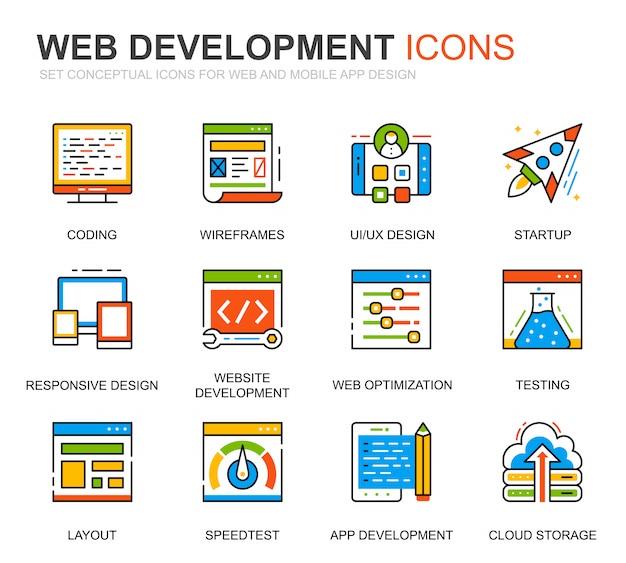 Webサイトのシンプルなセットwebデザインと開発ラインのアイコン