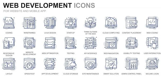 Webサイトとモバイルアプリのシンプルなwebデザインと開発ラインアイコンの設定