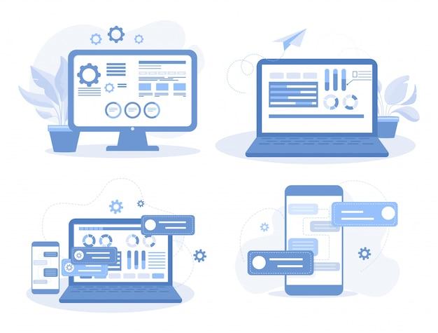 モバイルアプリとwebサイト開発の概念のセット。アプリの構築とwebデザインのフラットイラストの作成。