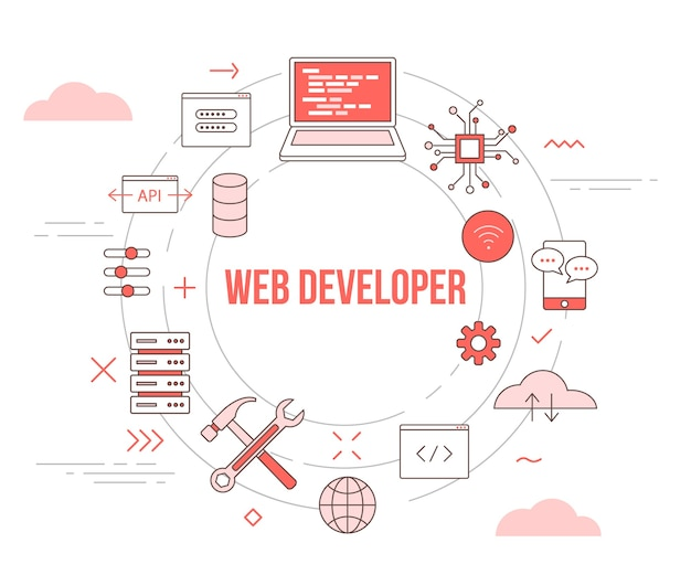 Web or website developer concept with icon set template banner