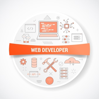 Web website developer with icon concept with round or circle shape