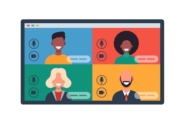 태블릿에서 화상 회의로 채팅하는 다른 사람들과 웹 창. 웃는 남자와 여자는 원격으로 일하고 의사 소통합니다. 팀 회의 그림