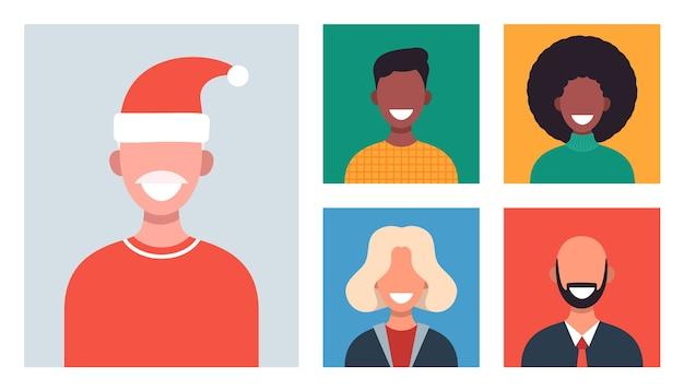 화상 회의로 채팅하는 다른 사람들과 웹 창. 웃는 남자와 여자는 원격으로 일하고 의사 소통합니다. 크리스마스 가족이나 친구 온라인 모임.