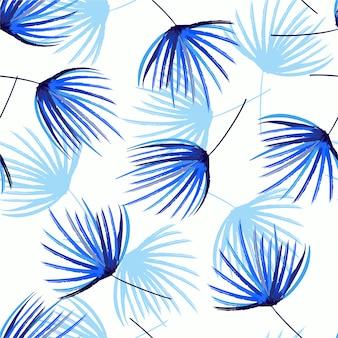 ヤシの葉のベクトルハンドブラシスケッチで青の陰のシームレスパターンのモノトーン。ファッション、ファブリック、web、壁紙、wrappidng、すべてのプリントをデザイン