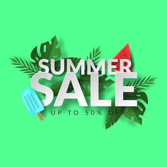 Web3d летняя распродажа баннер с мороженым, арбузом, листьев и текста на зеленом фоне