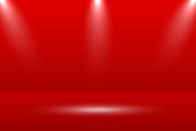 空の鮮やかな赤いスタジオテーブルルームの背景。 webサイトで製品を宣伝するためのバナー