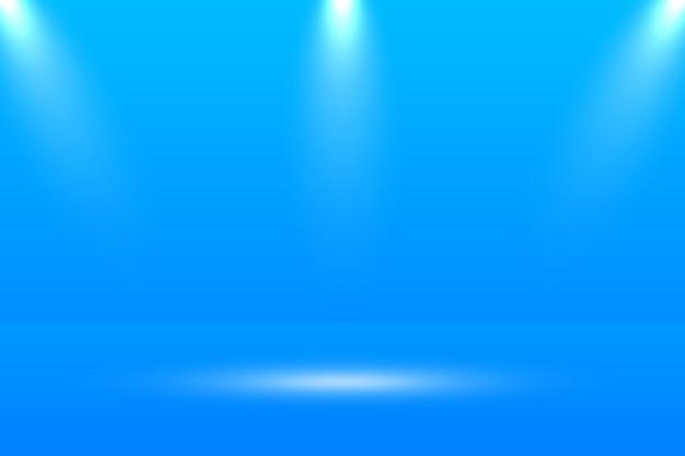 空の鮮やかな青い色のスタジオテーブルルームの背景。 webサイトで製品を宣伝するためのバナー
