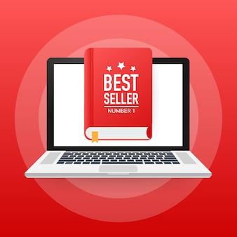ベストセラーの本、フラットなデザインの細い線のバナー、電子メールニュースレターの使用法、webバナー。図。