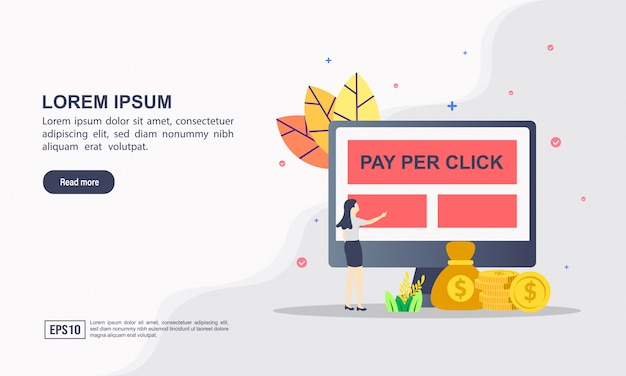 クリックあたりの支払いのランディングページwebテンプレートの概念